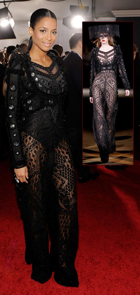 Ciara Givenchy Lace Dress 2010 Grammys