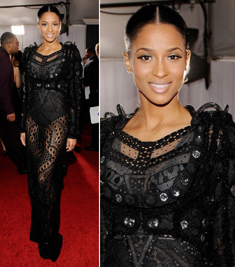 Ciara lace see through dress 2010 Grammy awards