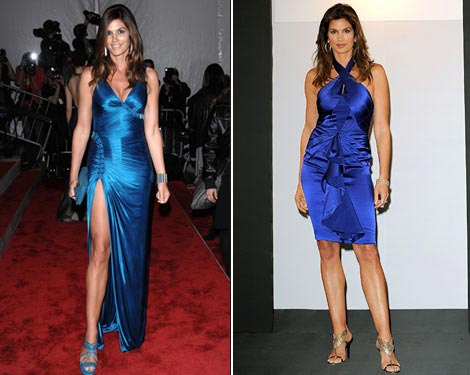 Cindy Crawford Versace blue dresses