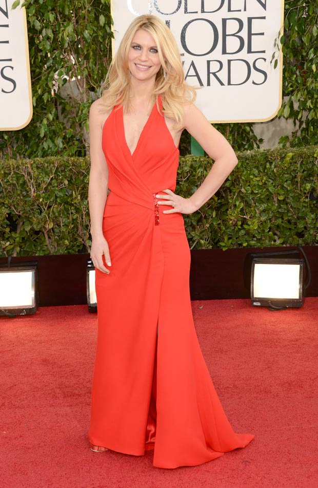 Claire Danes 2013 Golden Globes red dress