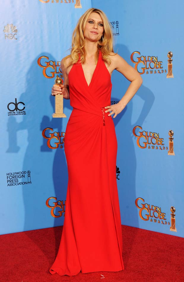 Claire Danes In Red Versace Dress 2013 Golden Globes