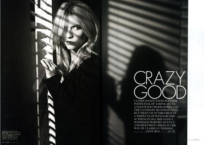 Claire Danes black and white  ELLE US February 2013