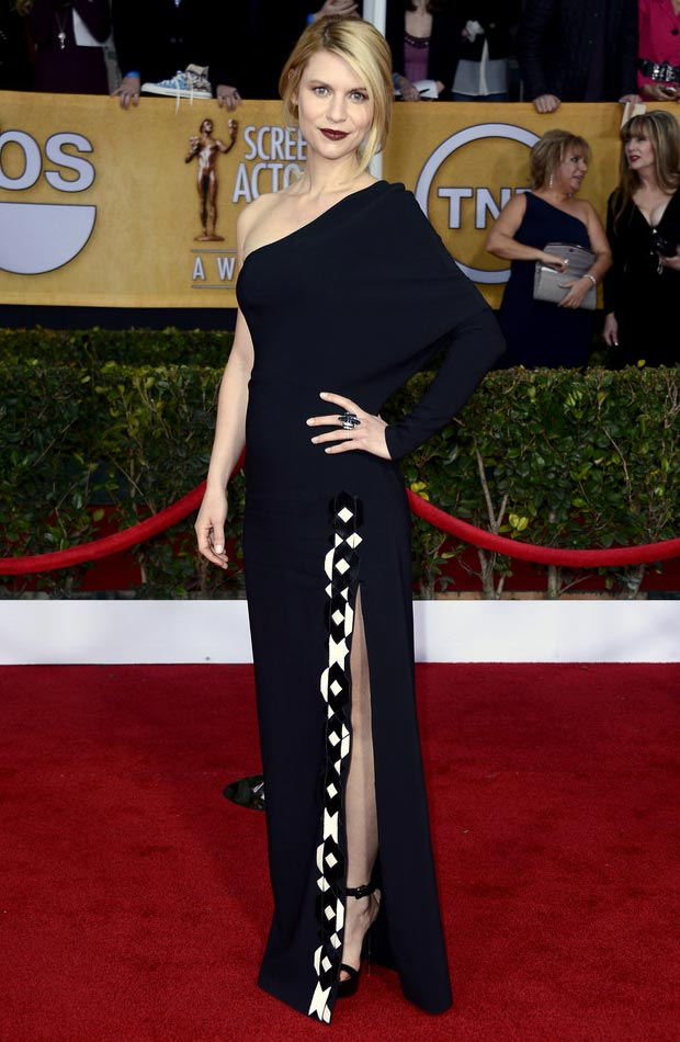 Claire Danes black dress leg slit 2013 SAG Awards