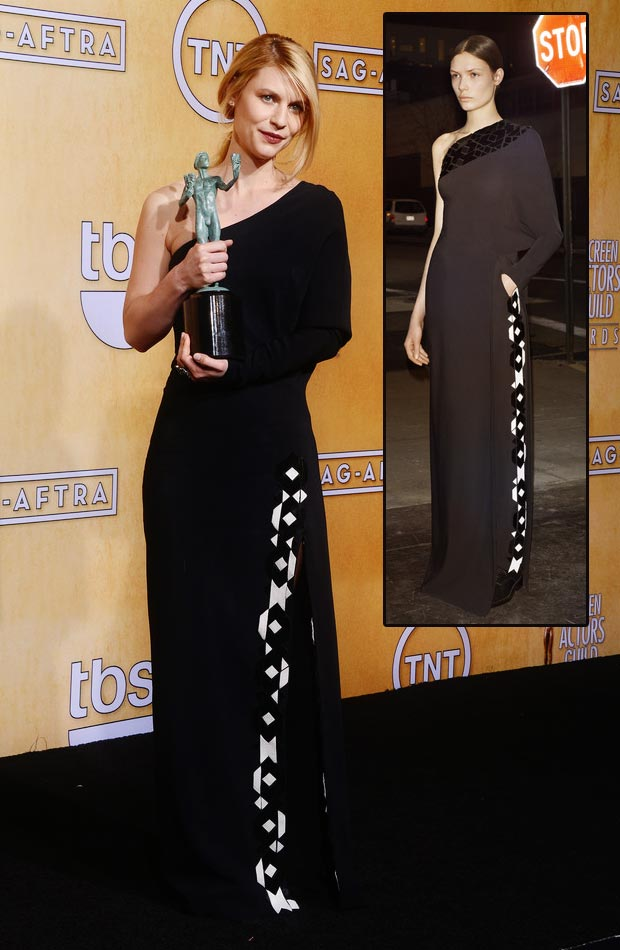 Claire Danes Givenchy black dress 2013 SAG Awards winner
