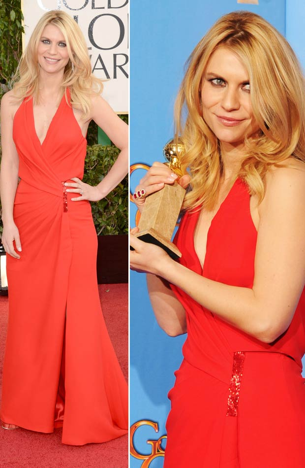Claire Danes Versace red dress 2013 Golden Globes