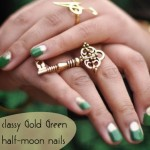 classy gold green halfmoon nails for spring