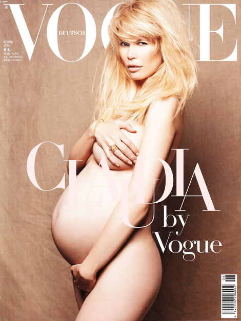Claudia Schiffer Pregnant Vogue Germany June 2010 cover