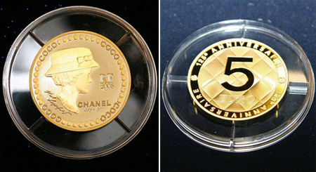 Coco Chanel 125 anniversary golden coin