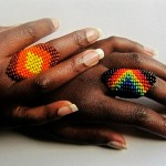 colorful beaded rings by Innocent Creationz
