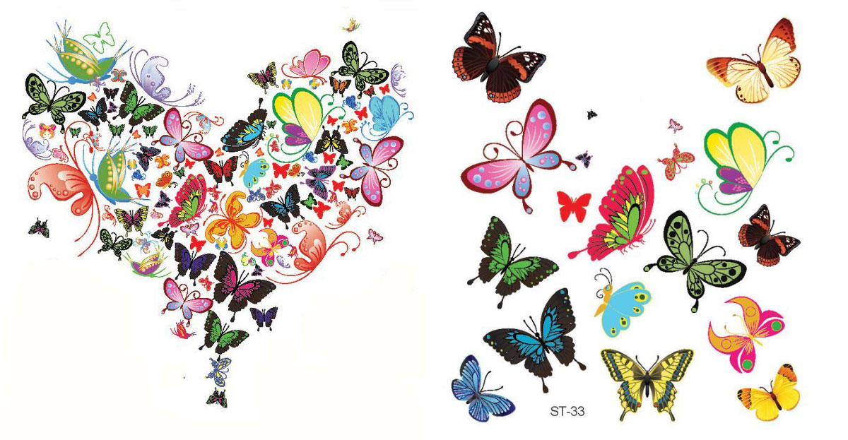 colorful butterflies heart temporary tattoo