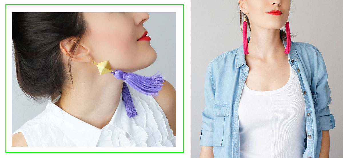 colorful tassel earrings handmade Epuu