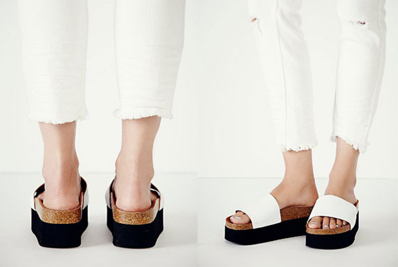comfortable trendy white flatforms