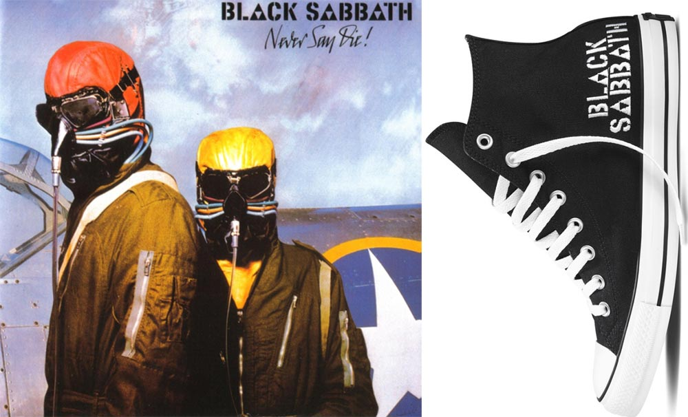 Converse Black Sabbath sneakers Never Say Die album cover