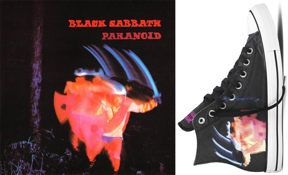 Converse Black Sabbath sneakers Paranoid album cover