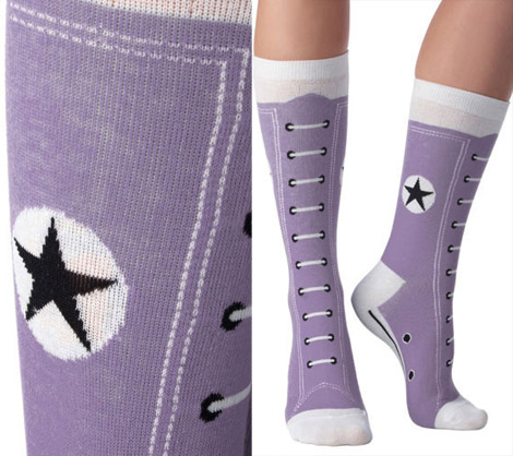 Converse Hi top socks purple