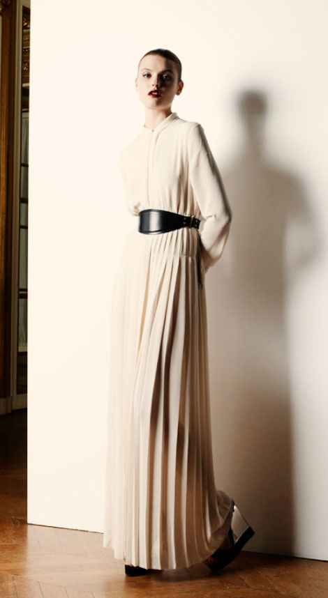 creamy pleated maxi dress Lanvin Resort 2013 collection