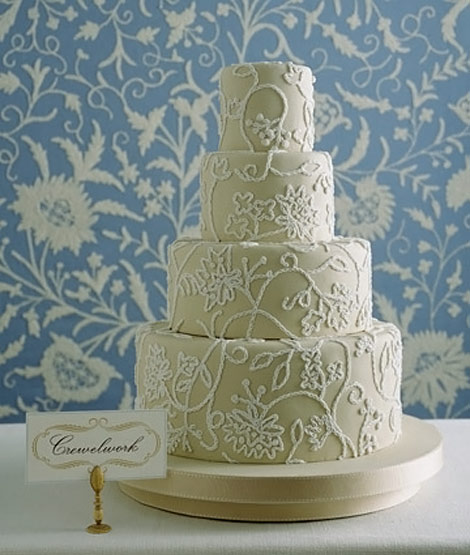 crewelwork white wedding cake