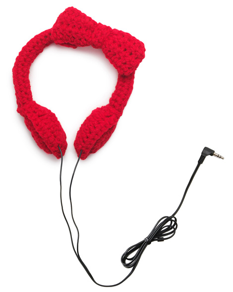 Crocheted bow headphones red