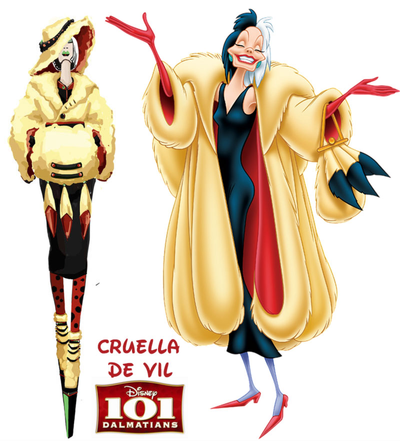 Cruella de Vil fashion update Disney Villains 101 Dalmatians