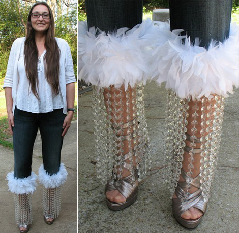 Crystal feathers jeans