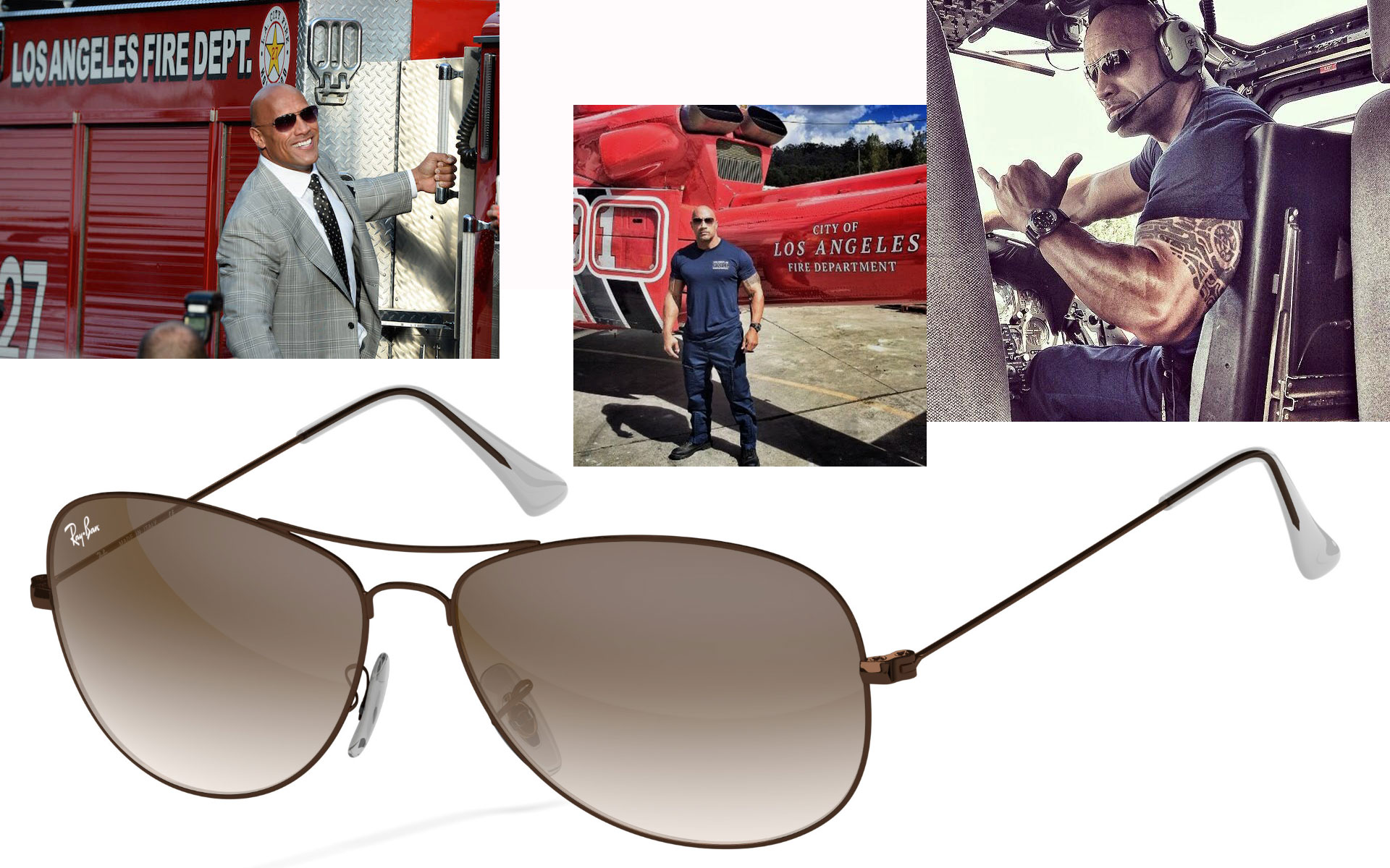 custom aviator pilot Ray Ban sunglasses Dwayne the Rock Johnson San Andreas