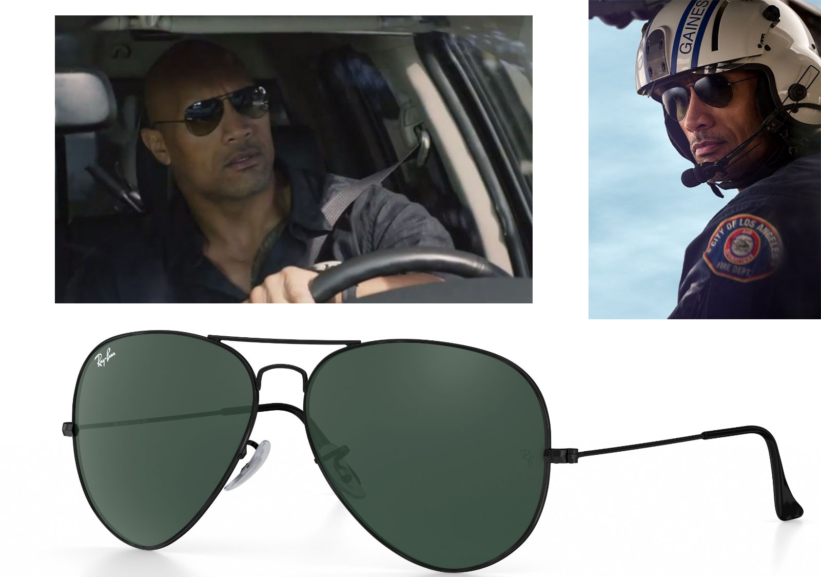 custom Aviator Ray Ban sunglasses Dwayne the Rock Johnson San Andreas