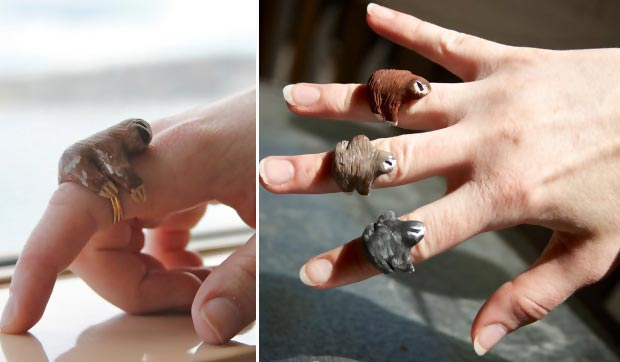 cute lazy sloth rings