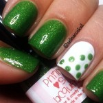 cute spring nails green dotted accent