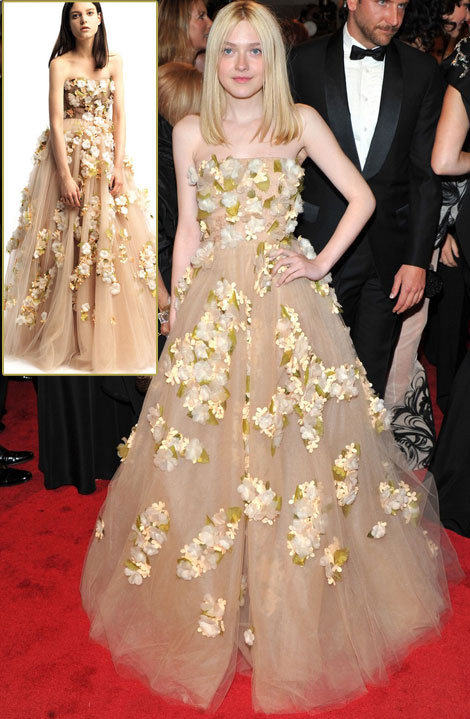 Dakota Fanning's Valentino Flowery Dress For Met Gala 2011
