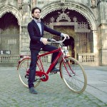 dapper retro man outfit red bike
