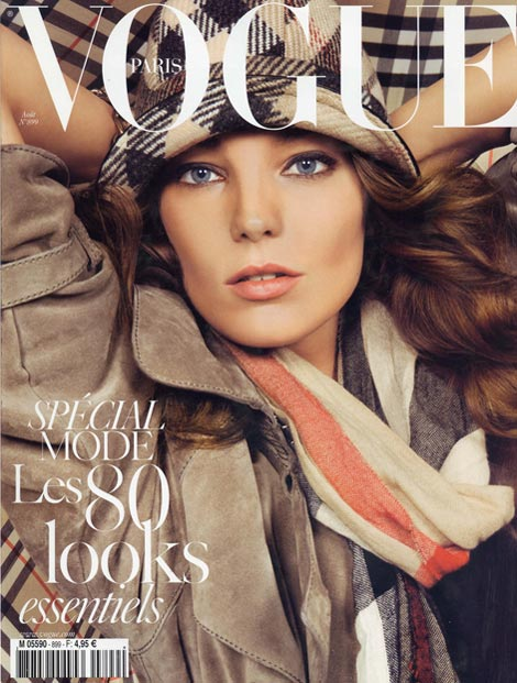 Daria Werbowy Vogue Paris August 2009 cover