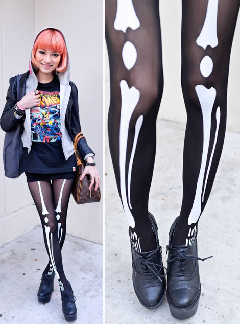 daring skeleton tights