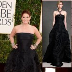 Debra Messing Donna Karan black dress 2013 Golden Globes