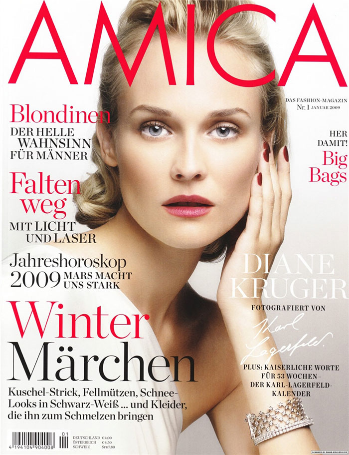 Diane Kruger pictures Amica January 09 Karl Lagerfeld cover large