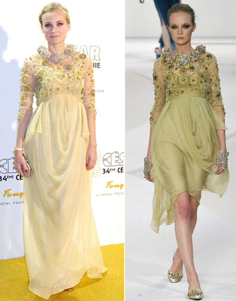 Diane Kruger Valentino dress Cesar 2009