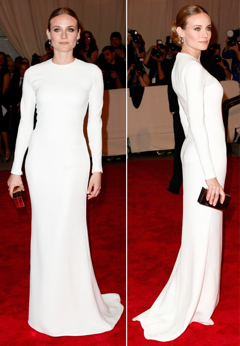Diane Kruger In White Calvin Klein Dress At Met Gala 2010