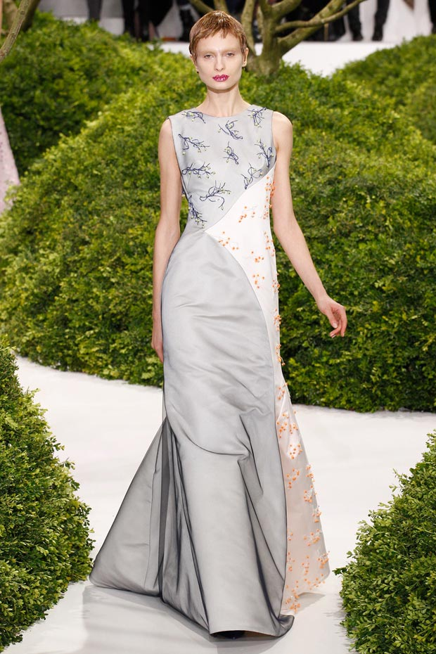 Dior Couture Spring 2013 collection flowers applique dress