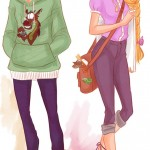 Disney Princesses in casual clothes Mulan Rapunzel viria13