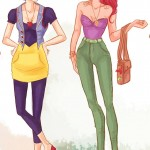 Disney Princesses in casual clothes Snow White Ariel Viria13