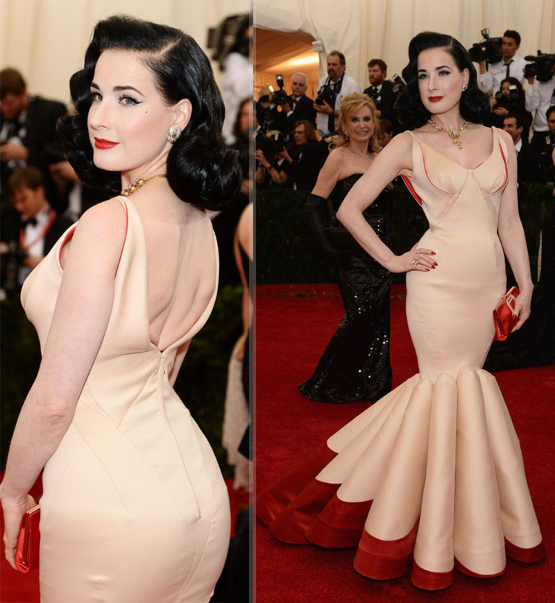 Dita von Teese 2014 Met Gala Red Carpet Zac Posen dress
