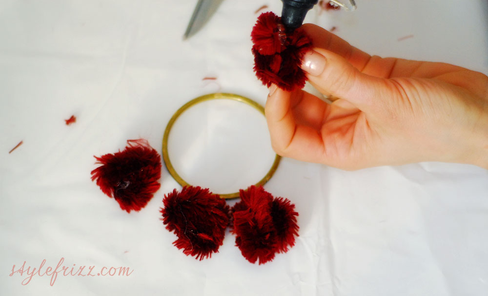 DIY Burberry pompom bracelets step two