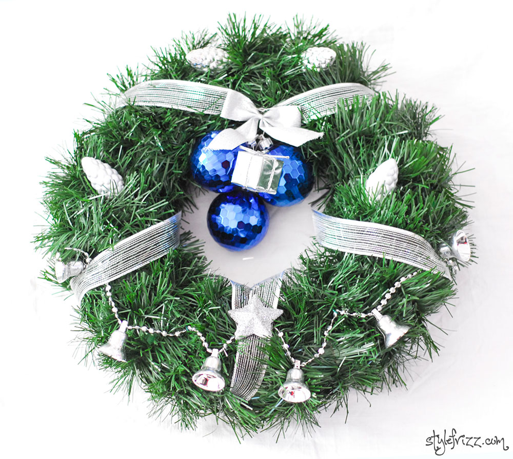 diy christmas wreath silver blue