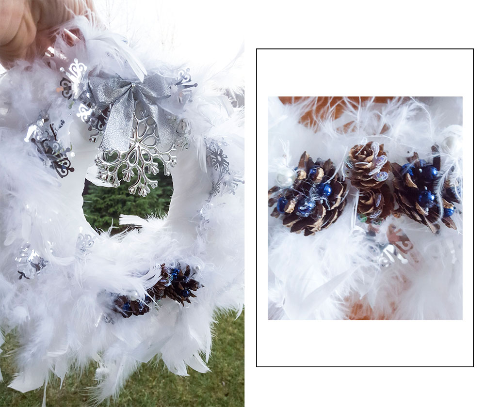 diy feathers winter wreath