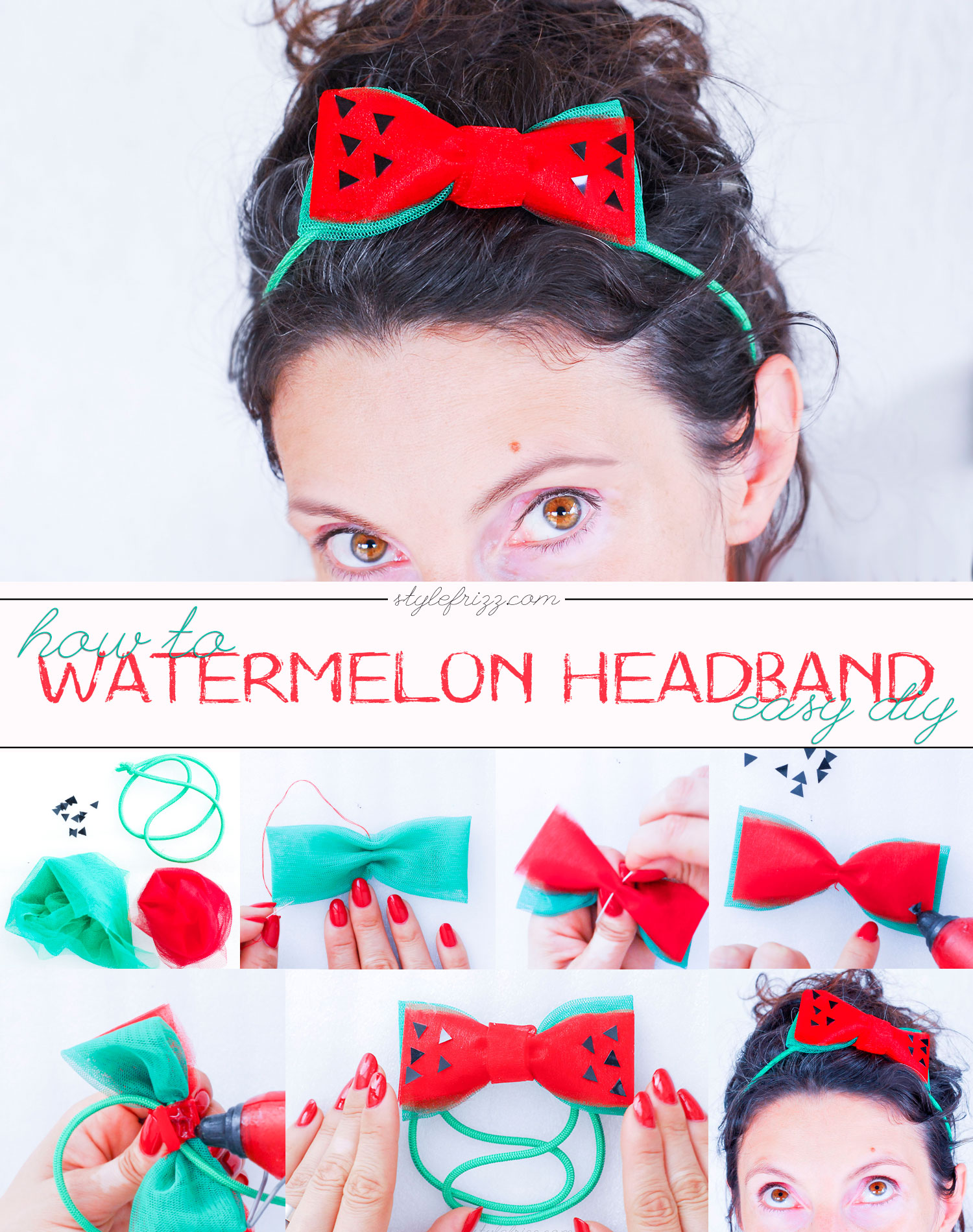 diy how to summer headband watermelon bow tutorial step by step
