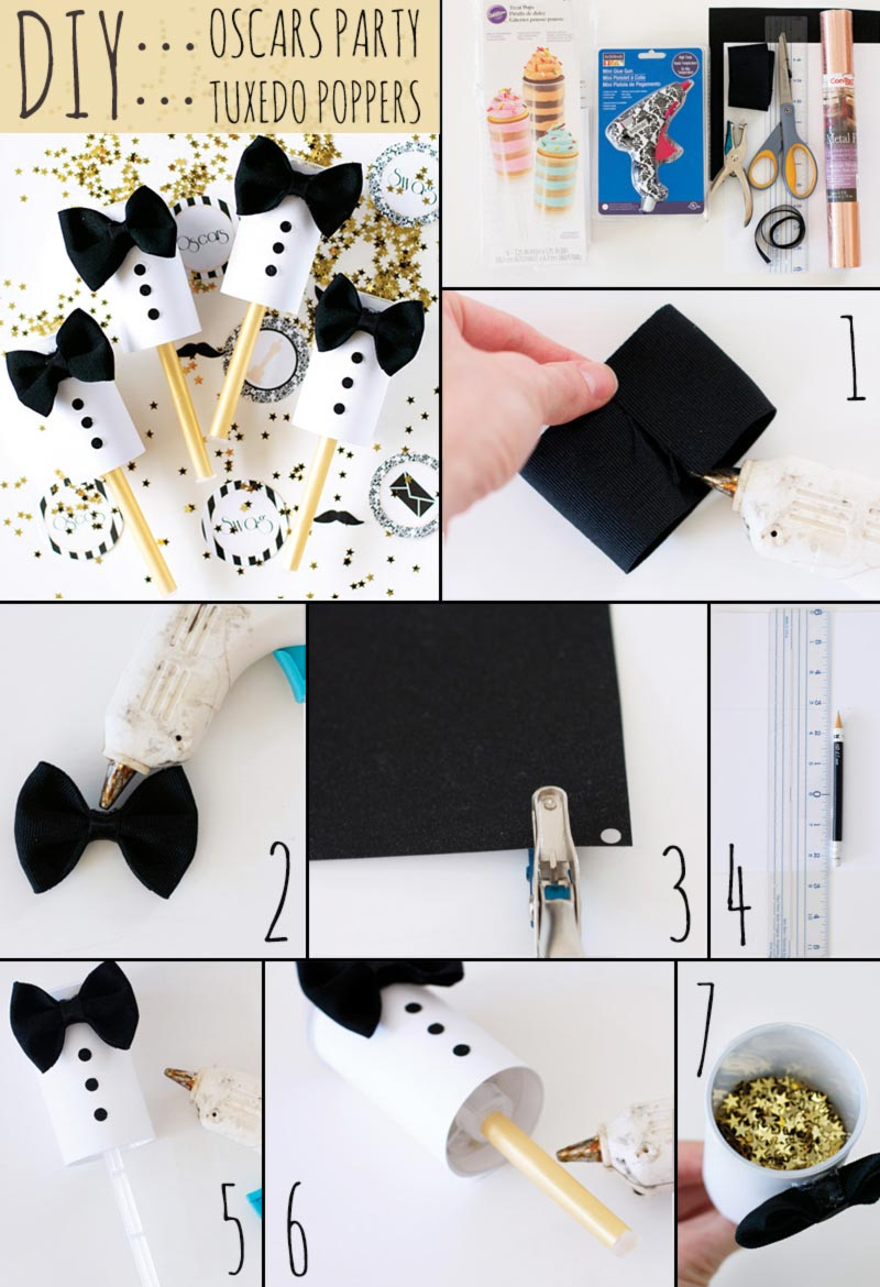 DIY Oscars Tuxedo party poppers tutorial