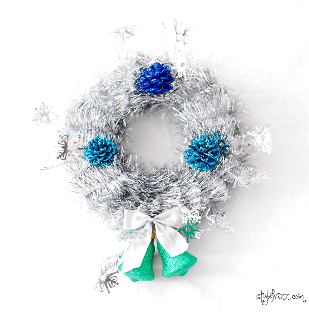 diy silver tinsel glitter pinecones christmas wreath