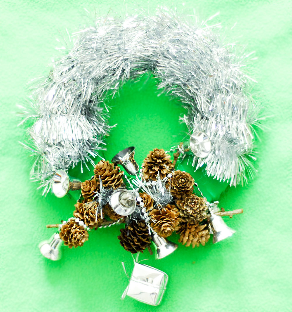 diy silver tinsel pinecones christmas wreath