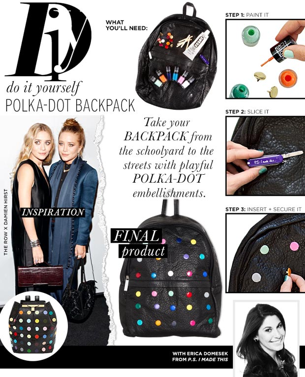 Backpacks Are The New It-Bags: DIY Polka Dot Backpack