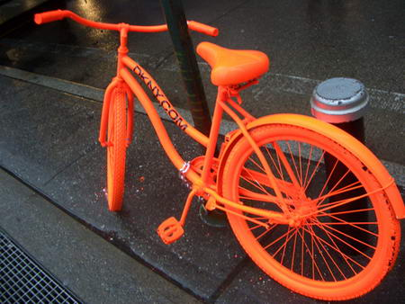 DKNY orange bicycles