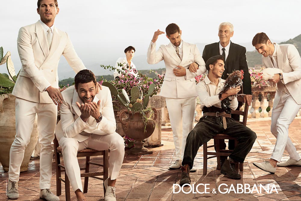 Dolce Gabbana men white suits Spring Summer 2014 ad campaign